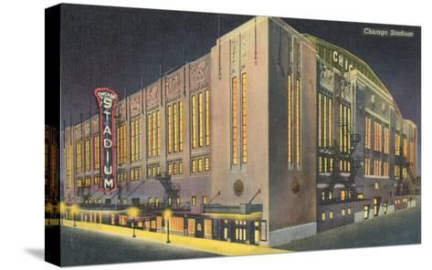 Chicago Stadium at Night, Chicago, Illinois--Stretched Canvas Print