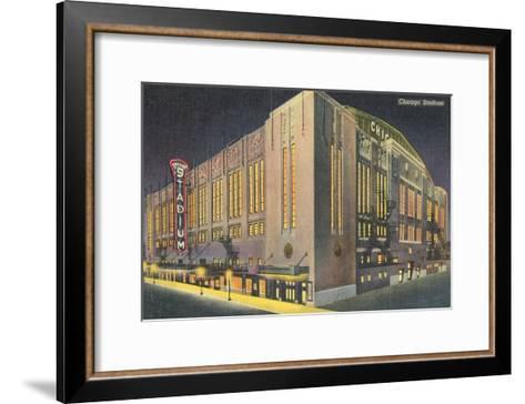 Chicago Stadium at Night, Chicago, Illinois--Framed Art Print
