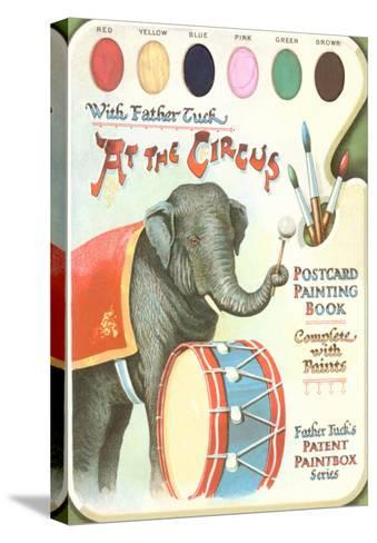 Elephant Beating Drum, Circus Painting Book--Stretched Canvas Print