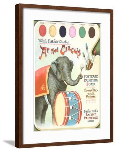 Elephant Beating Drum, Circus Painting Book--Framed Art Print