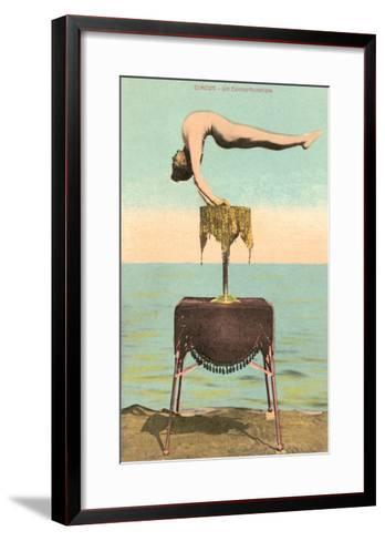 Circus Contortionist at Beach--Framed Art Print