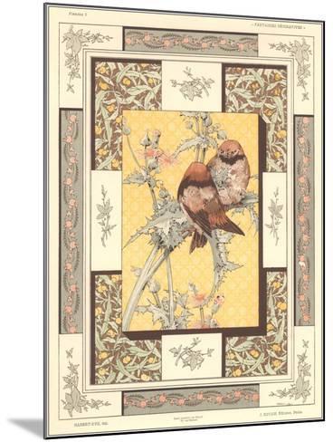 Birds on Thistle Plant--Mounted Art Print