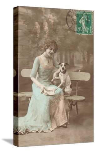 French Woman Talking to Rat Terrier--Stretched Canvas Print
