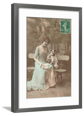 French Woman Talking to Rat Terrier--Framed Art Print