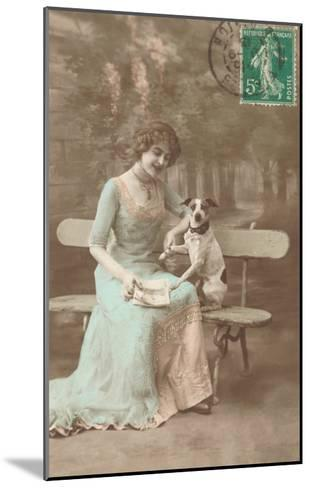 French Woman Talking to Rat Terrier--Mounted Art Print