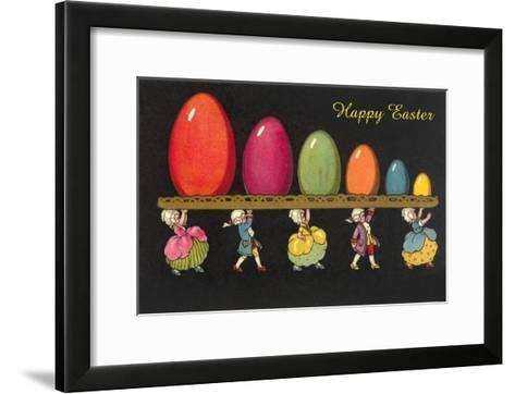 Children in Colonial Costumes Carrying Tray of Easter Eggs--Framed Art Print