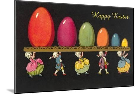 Children in Colonial Costumes Carrying Tray of Easter Eggs--Mounted Art Print
