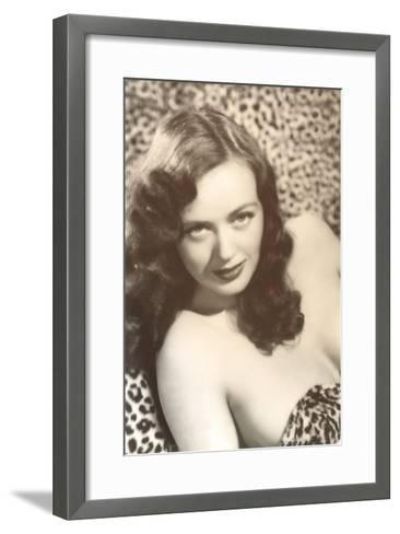Come Hither Woman in Leopard Skins--Framed Art Print