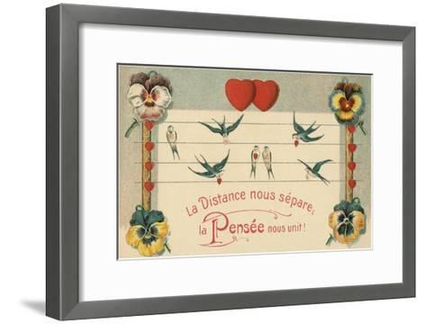 Distance Separates Us, Thoughts Unite--Framed Art Print