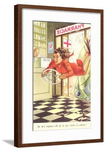 French Woman Flying into Pharmacy with Steering Wheel--Framed Art Print