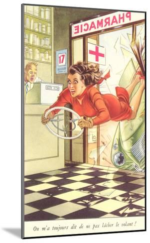 French Woman Flying into Pharmacy with Steering Wheel--Mounted Art Print