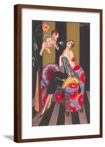 Flapper Sprayed by Perfume-Bearing Cherub--Framed Art Print