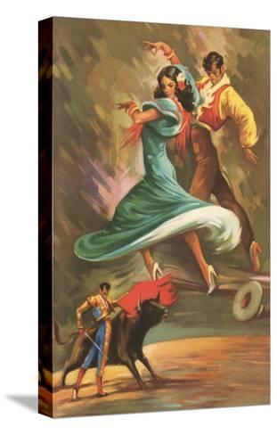 Flamenco Dancers and Bullfighter--Stretched Canvas Print