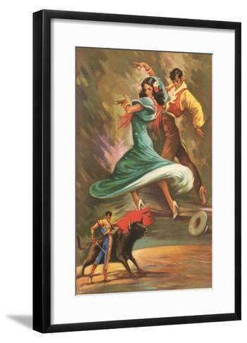 Flamenco Dancers and Bullfighter--Framed Art Print