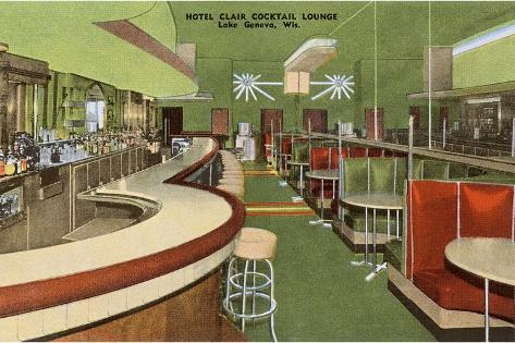 Hotel Clair Cocktail Lounge, Lake Geneva, Wisconsin--Stretched Canvas Print