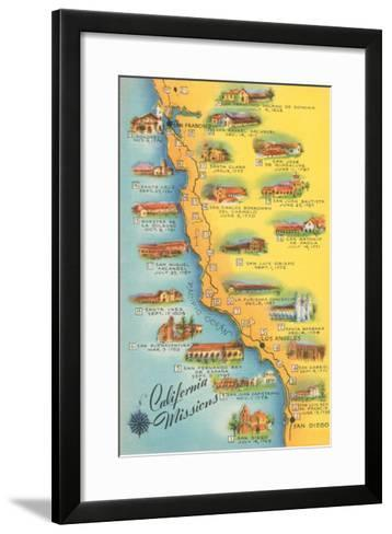 Map of the Missions, California--Framed Art Print