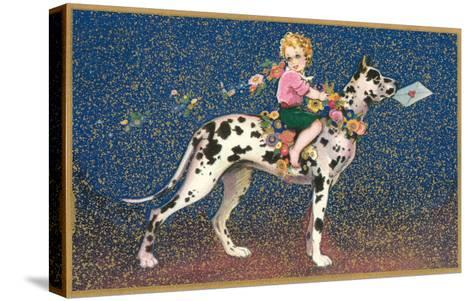 Girl Riding Harlequin Great Dane--Stretched Canvas Print