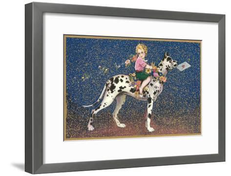 Girl Riding Harlequin Great Dane--Framed Art Print