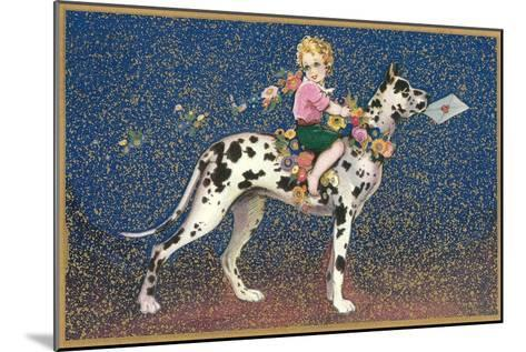 Girl Riding Harlequin Great Dane--Mounted Art Print