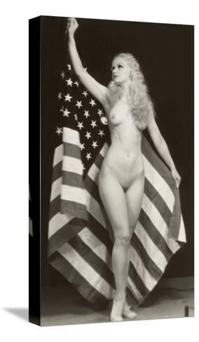Nude Blonde with U.S. Flag--Stretched Canvas Print