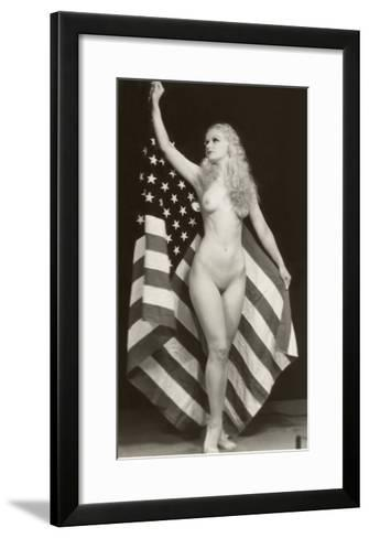 Nude Blonde with U.S. Flag--Framed Art Print