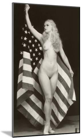 Nude Blonde with U.S. Flag--Mounted Art Print