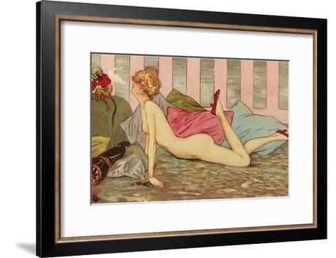 Nude Blowing Smoke at Monkey--Framed Art Print