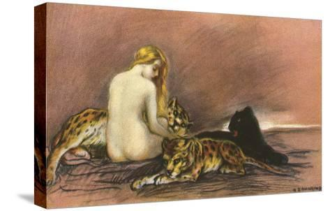 Nude Woman with Leopards and Panther--Stretched Canvas Print