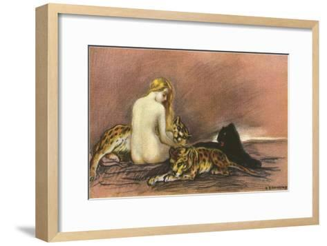 Nude Woman with Leopards and Panther--Framed Art Print