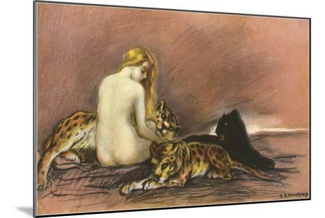 Nude Woman with Leopards and Panther--Mounted Art Print