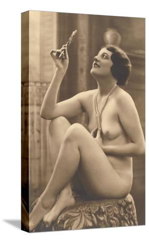 Nude Woman in Pearls with Small Mirror--Stretched Canvas Print