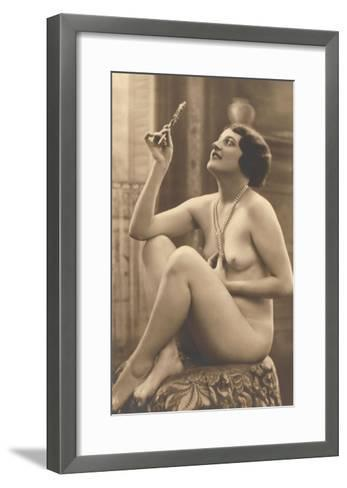 Nude Woman in Pearls with Small Mirror--Framed Art Print