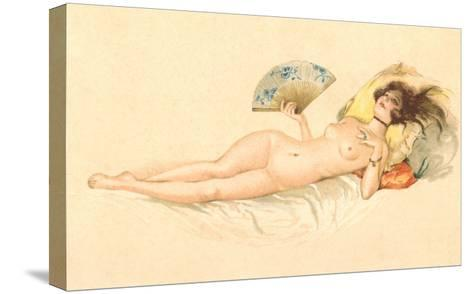 Nude Woman with Fan--Stretched Canvas Print