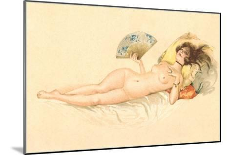 Nude Woman with Fan--Mounted Art Print
