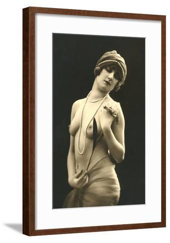 Topless Woman with Pearls--Framed Art Print