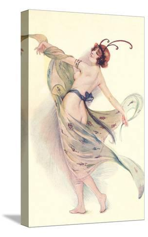 Semi-Nude Woman with Butterfly Antenna--Stretched Canvas Print