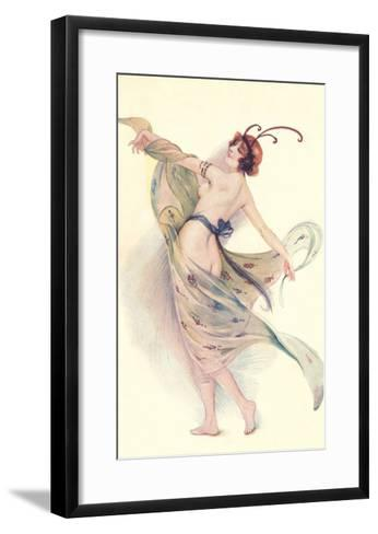 Semi-Nude Woman with Butterfly Antenna--Framed Art Print