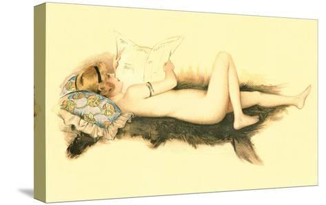 Nude Reading Newspaper on Bearskin Rug--Stretched Canvas Print