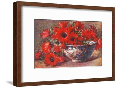 Red Flowers in Bowl--Framed Art Print
