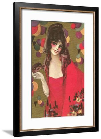 Spanish Lady with Mantilla--Framed Art Print
