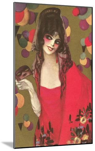 Spanish Lady with Mantilla--Mounted Art Print