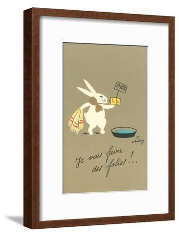 Rabbit Preparing to Bathe--Framed Art Print