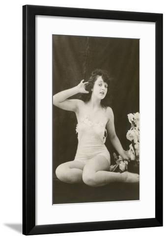 Woman in Camisole Trying to Hear--Framed Art Print