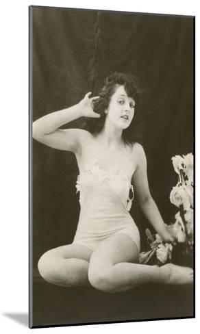 Woman in Camisole Trying to Hear--Mounted Art Print