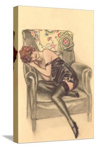 Woman in Black Chemise in Chair--Stretched Canvas Print