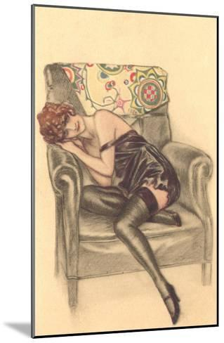 Woman in Black Chemise in Chair--Mounted Art Print
