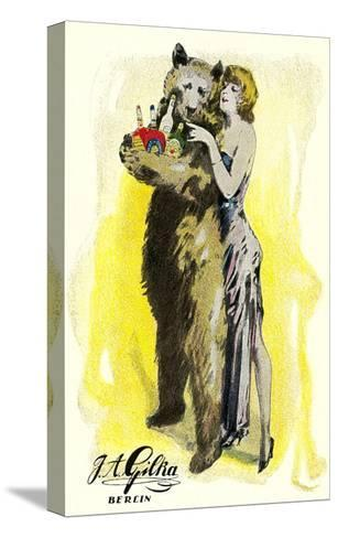 Woman with Bear Carrying Liquor Bottles, Germany--Stretched Canvas Print