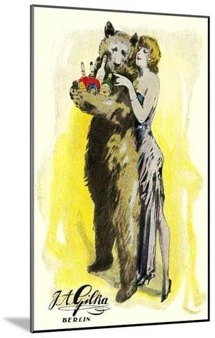 Woman with Bear Carrying Liquor Bottles, Germany--Mounted Art Print