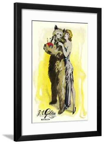 Woman with Bear Carrying Liquor Bottles, Germany--Framed Art Print