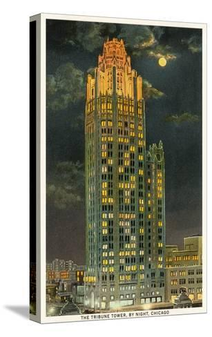 Tribune Tower by Night, Chicago, Illinois--Stretched Canvas Print